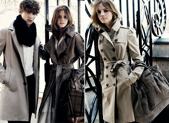 Emma Watson for Burberry Fall 2009 campaign. Photos courtesy of Burberry