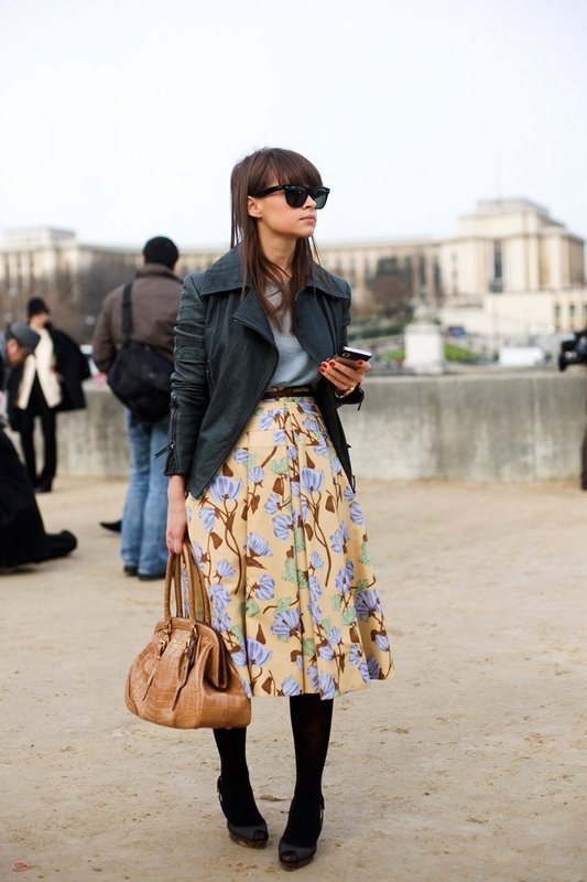 Miroslava Duma  floral skirt paris
